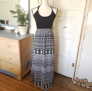 Kirra Black and White Boho Aztec Maxi Dress Lined